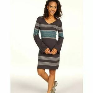Prana Sydney Gray Striped Sweater Tie Dress Midi